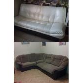 Угловые и прямые диваны, комплекты(примеры перетяжки)