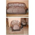 Комбинированная перетяжка комплекта диван + 2 кресла