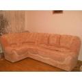 Угловой диван Ракушка комбинированная перетяжка